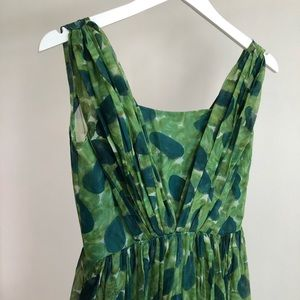 60s VTG Couture Green Silk Chiffon Cocktail Dress